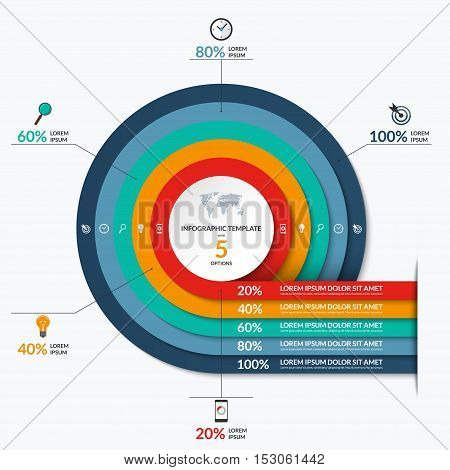 Circle infographic template. Vector banner with 5 options- 20, 40, 60, 80, 100 percent. Can be used for diagram, graph, chart, report, data visualization, presentation, web design