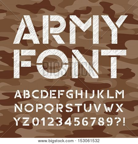 Army alphabet font. Distressed type letters and numbers on camo background. Vector typeface for your design.