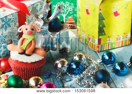 Christmas Cupcake With Christmas Decorations
