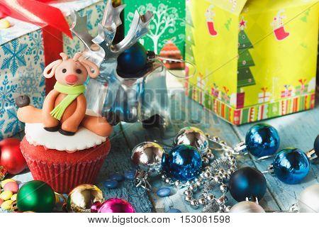 Christmas Cupcake With Christmas Decorations