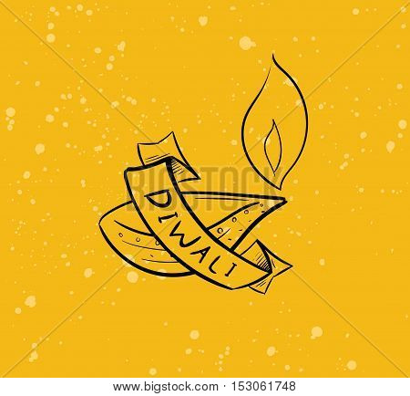 Happy Diwali background. Typographic emblem with lamp. Vector text design. Usable for banners, greeting cards, posters, gifts etc