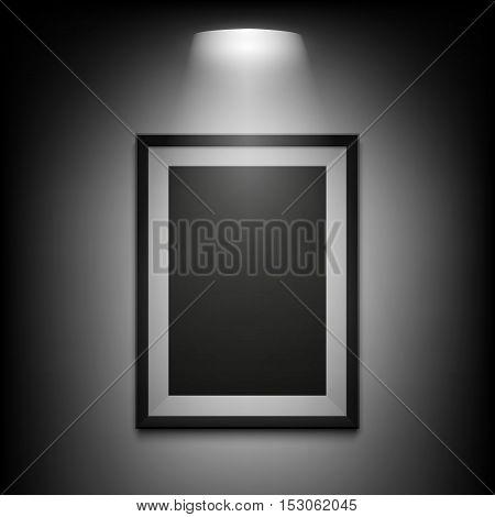 Blank illuminated picture frame on black background. Vector illustration.