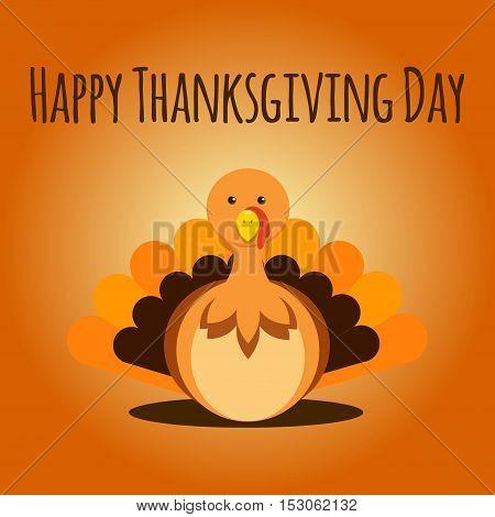 Vector Illustration of a Happy Thanksgiving Celebration Design with Cartoon Turkey.