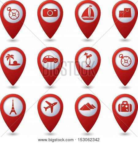 Map pointers with travel icons. Vector illustration