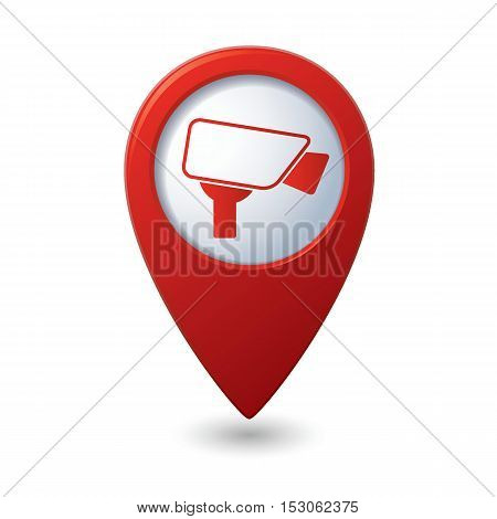 Map pointer with surveillance camera icon. Vector illustration