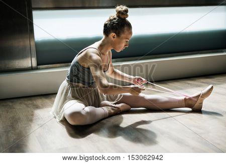 Ballerina Woman Tie Shoes Concept
