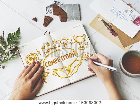 Success Achievement Victory Outside Box Sketch Concept