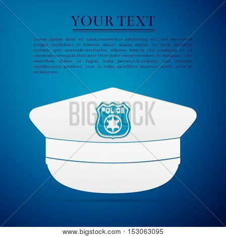 Police cap flat icon on blue background. Vector Illustration