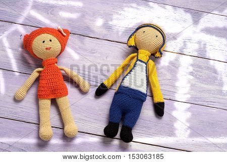 Amigurumi Toys Couple On A Sea Shore - Holiday Vacation Concept