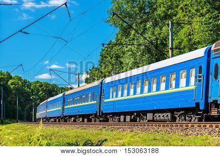 Passenger train in Kiev Region of Ukraine, between Boyarka and Vasylkiv