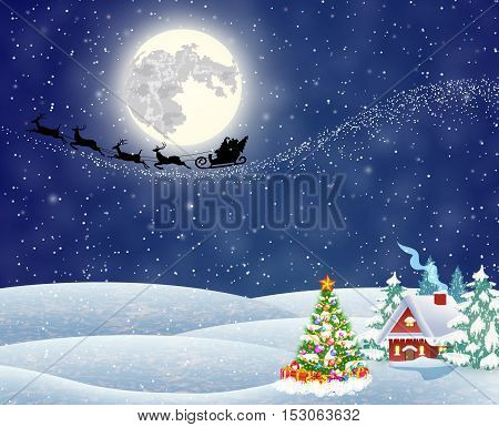 A house in a snowy Christmas landscape at night. christmas tree. background with moon and the silhouette of Santa Claus flying on a sleigh. concept for greeting or postal card, vector illustration