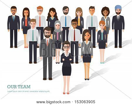 Group of business men and women working people on white background. Business team and teamwork concept. Flat design people characters.