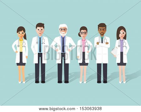 Group of male and female doctors medical staffs. Flat design people characters.