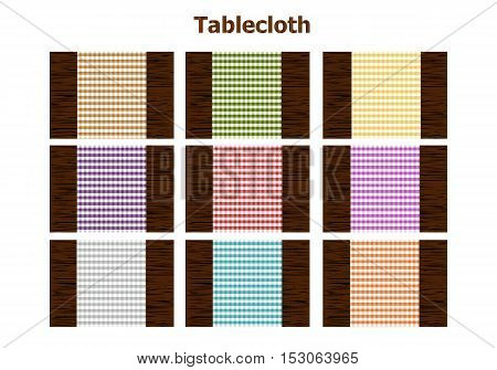 Checkered tablecloth on wooden table top view vector illustration.
