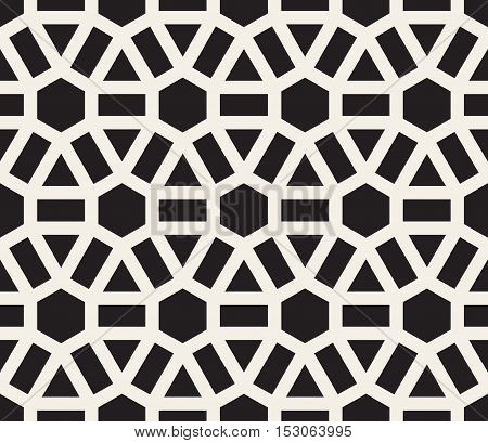 Vector Seamless Black Lines Grid Pattern. Abstract Geometric Background Design