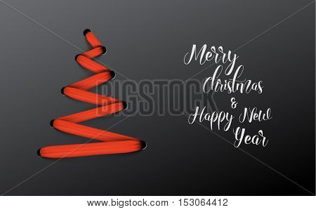 Simple vector christmas tree made from red lace, string - original new year card