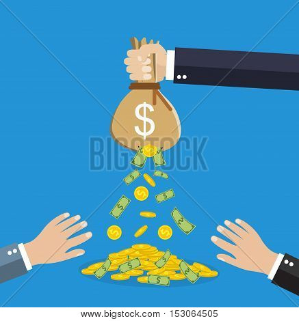 Cartoon businessman hand holding money bag and losing golden coins that poured out from a hole in the bag, other hands trying to steal fallen money. vector illustration in flat style,