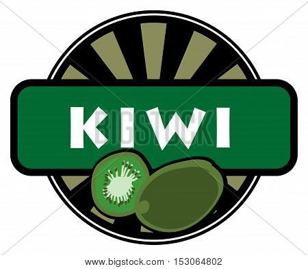 Fruit label or stamp - kiwi, vector illustration