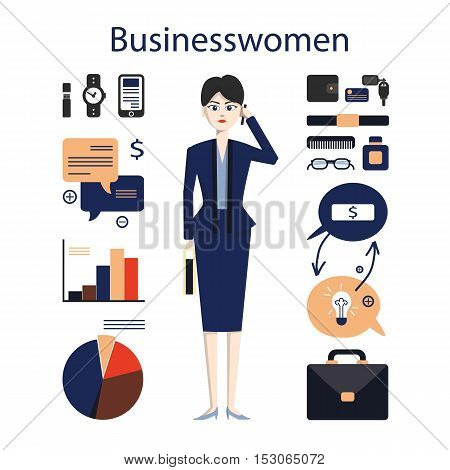 Isolated female businessman on white background. Young businesswoman with all the tools like charts, phone, glasses and more.
