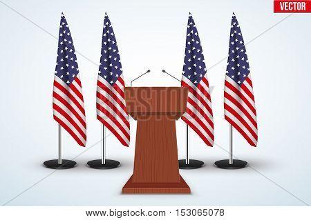 Wooden Podium Speaker Tribune with United States flags on background. US Election 2016 symbol. Vector Illustration Isolated