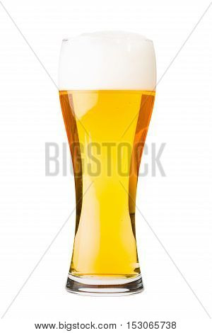 Glass filled with white lager beer with foam. Isolated on white background.