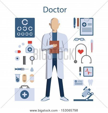 Isolated professional male doctor on white background. Doctor in whites with all the tools and equipment as stethoscope, medicine and more.