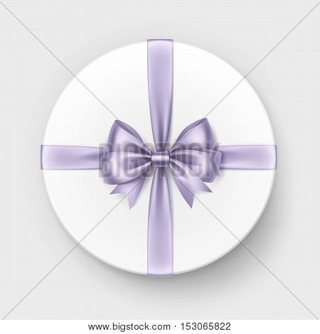 Vector White Round Gift Box with Shiny Light Violet Lilac Satin Bow and Ribbon Top View Close up Isolated on Background