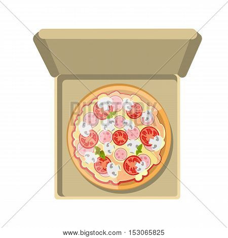 European pizza in box. Isolated fresh and tasty italian snack on white background. Pizza with tomatoes, ham and cheese.