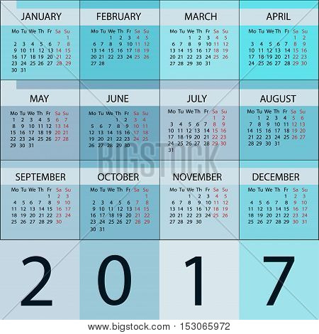 Calendar Planner 2017 Year. Vector 12 Months Week starts with Monday.