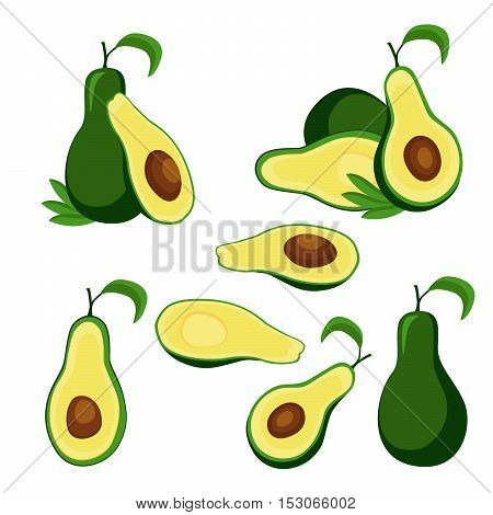 Collection of ripe avocado fruit and halves isolated on white background