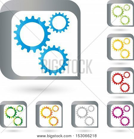Gear, colored, gears and rectangle, mechanics and industrial logo