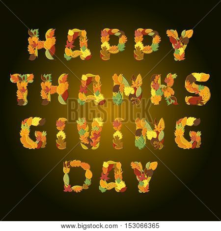 Happy Thanksgiving day Vector greeting card with background