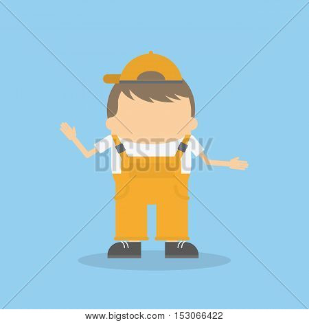 Isolated builder kid on blue background. Funny cartoon character in uniform and cap.