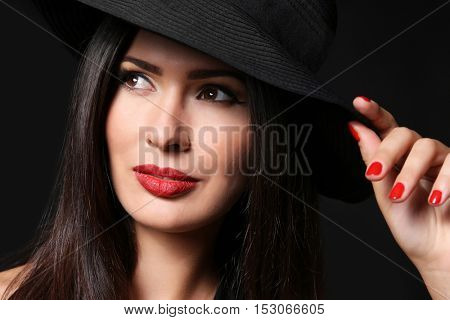 Portrait of sensual lady with red lips, closeup