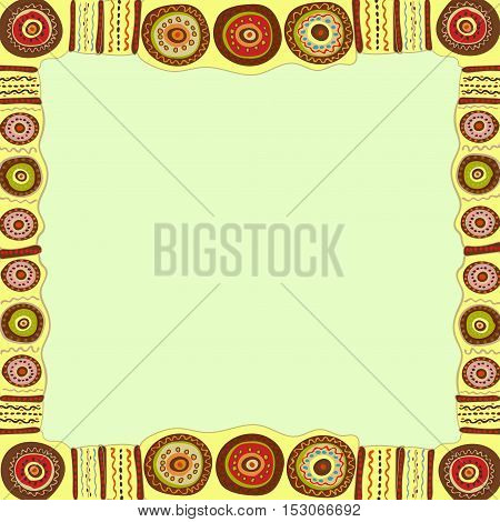 Ethnic hand painted square frame. Vector illustration.