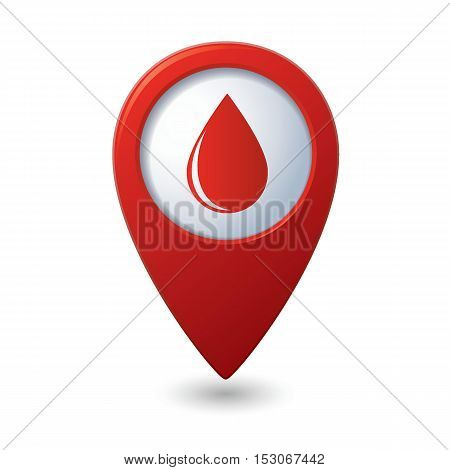 Map pointer with water drop icon. Vector illustration