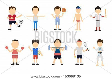 Isolated sport set on white background. Different kinds of sport like volleyball, boxing, swimming, basketball and more.