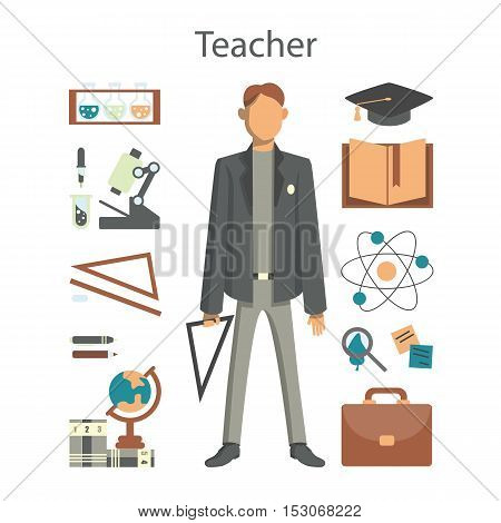 Isolated professional teacher on white background. Male teacher in suit and with equipment as microscope, globe and more.