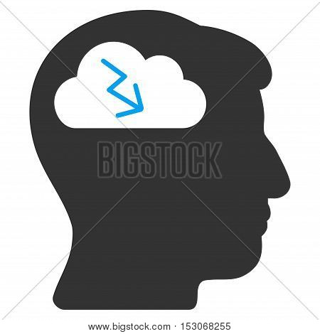 Brainstorming glyph pictograph. Style is flat graphic bicolor symbol, blue and gray colors, white background.