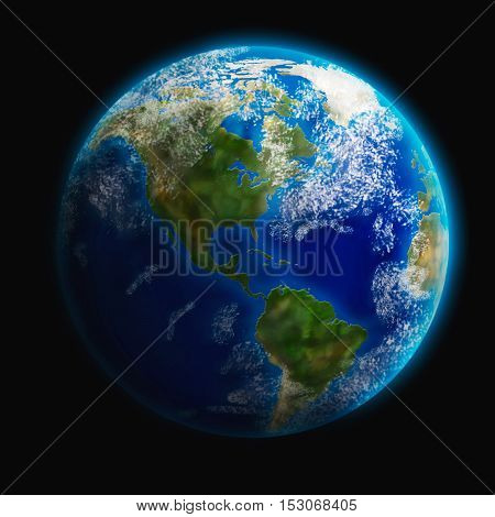 Earth from space. 3D illustration. Elements of this image furnished by NASA.