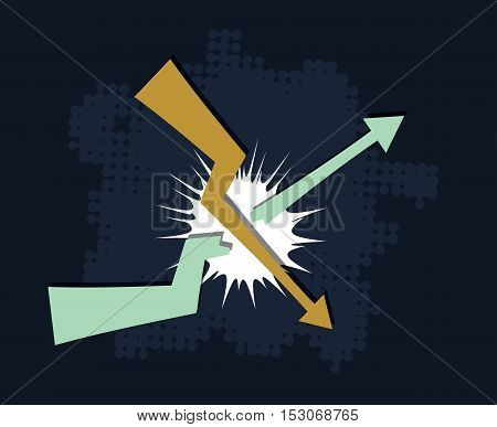 falling down trend breaks upcoming trend financial crisis concept abstract vector illustration