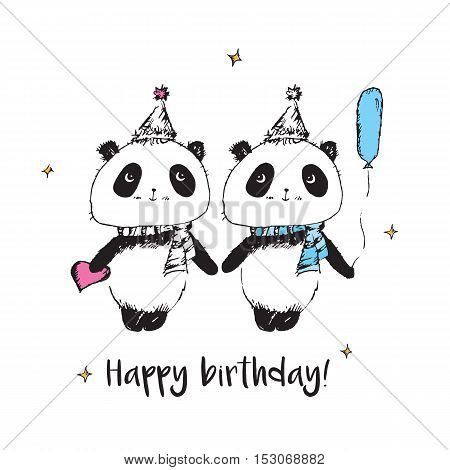 Happy birthday. Greeting card with hand drawn cute pandas.
