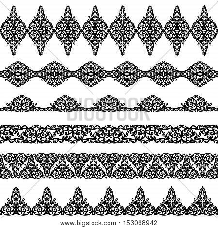 Set of black borders isolated on white