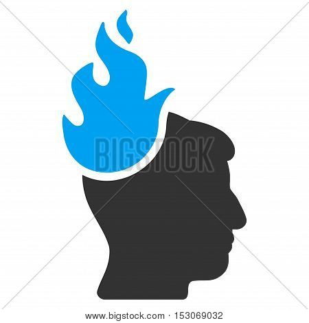 Fired Head glyph pictogram. Style is flat graphic bicolor symbol, blue and gray colors, white background.
