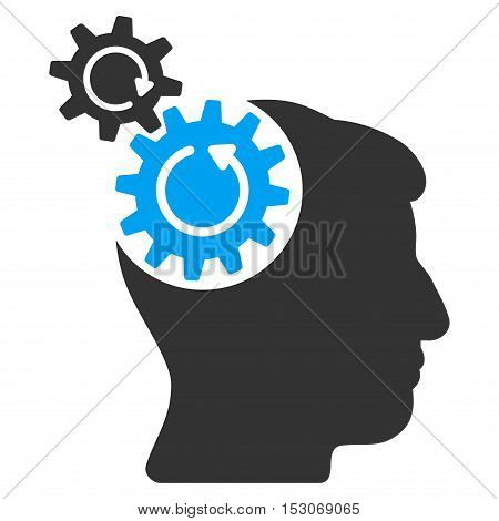 Head Cogs Rotation glyph icon. Style is flat graphic bicolor symbol, blue and gray colors, white background.