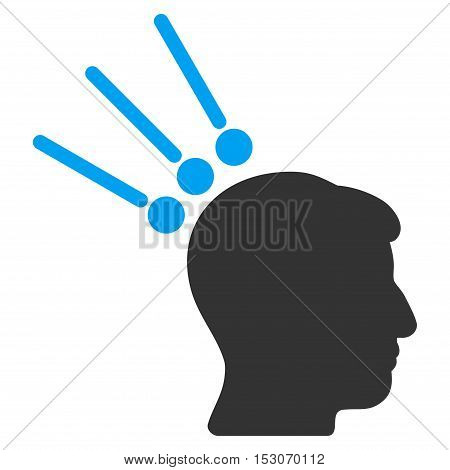 Head Test Connectors glyph icon. Style is flat graphic bicolor symbol, blue and gray colors, white background.
