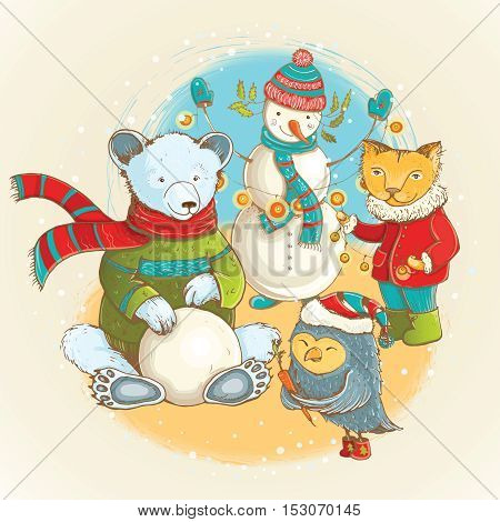 Cartoon illustration of sculpt of snowman in winter with funny animals. Vector cute christmas card with funny characters.