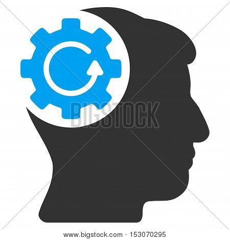 Intellect Gear Rotation glyph pictogram. Style is flat graphic bicolor symbol, blue and gray colors, white background.
