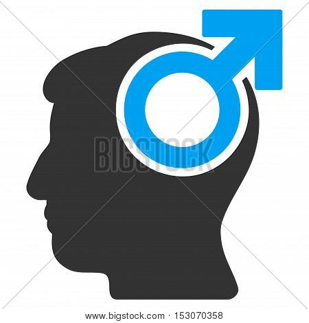 Intellect Potency glyph pictograph. Style is flat graphic bicolor symbol, blue and gray colors, white background.
