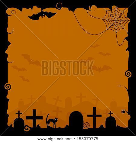 Halloween background with silhouettes of bats cobwebs and tombstones